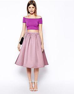 ASOS Midi skirts, Price: EUR 106.64, ASOS Premium - Jupe de bal de fin d'année mi-longue en satin non tissé