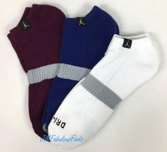 Nike Air Jordan Dri-fit Athletic No Show Socks Mens L White Mulberry Concord for sale online Blue And White Socks, Nike Michael Jordan, No Show Socks, Nike Men, Air Jordans, Underwear, Athletic, Best Deals, Fitness