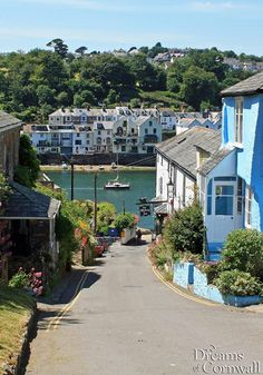 Bodinnick (where Justin came to meet Tom Johns) - looking down the main street, the Old Ferry Inn on the right at the bottom of the hill. Fowey across the river.