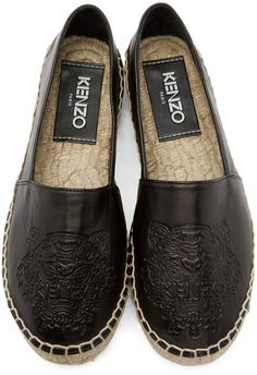 Kenzo Black Leather Logo Espadrilles