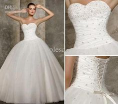 Wholesale - - 2014 fashion glittering wedding dress A-line Ball Gown Organza Strapless A0125
