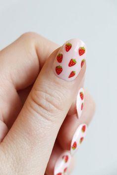 Cute Acrylic Nails, Cute Nail Art, Cute Nails, Pretty Nails, Nail Art Toes, Trendy Nail Art, Gel Nail Art, Strawberry Nail Art, Cherry Nails