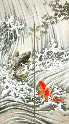 Koi Waterfall Japanese Noren - According to Japanese legend, if a koi succeeded… Waterfall Tattoo, Waterfall Drawing, Koi Painting, Japanese Painting, Japanese Koi, Japanese Design, Japanese Buddhism, Koi Dragon, Japanese Legends