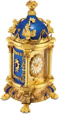 A magnificent, impressive and unique yellow gold, silver, diamond, lapis lazuli and translucent royal blue enamel museum quality baroque style dome clock with mother-of-pearl dial and original fitted presentation box Clock Art, Desk Clock, Old Clocks, Antique Clocks, Patek Philippe, Faberge Eier, French Clock, Unusual Clocks, Art Ancien