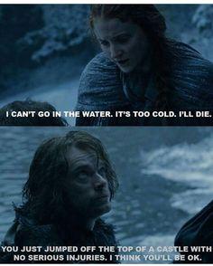 Alfie Allen (Theon Greyjoy), Sophie Turner (Sansa Stark)