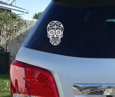 Sugar Skull Car Decal  Skull Sticker  Day Of by JensVinylDecals