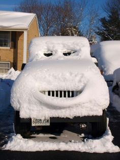 Jeep has it's snow face on. #smile #snow #jeep