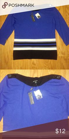 NWT Cable & Gauge Boat Neck Sweater. Beautiful Royal blue and black. Pair with sharp white slacks for a classic look. Cable & Gauge Tops