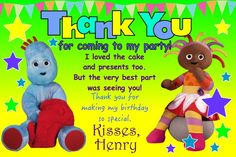 Personalised Iggle Piggle Upsy Daisy Boys Thank You Cards