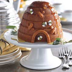 Williams-Sonoma Recipe Of The Day: This whimsical cake will be all the buzz at your next gathering! A drizzle of honey, added right before serving, is the perfect finish for the Honey-Glazed Lemon Beehive Cake. Click image for details...