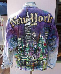 Fort Worth or Dallas Skyline? Painted Denim Jacket, Painted Jeans, Painted Clothes, Denim Jacket Men, Denim Jackets, Spiked Leather Jacket, Dallas Skyline, Denim Art, Mode Jeans
