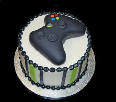 Black and neon green birthday cake topped with a video game controller for an XBOX themed party | Flickr - Photo Sharing!