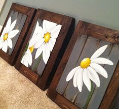 Daisy Art Farmhouse Decor Rustic Country Daisy Artwork Farmhouse Wall Decor Farmhouse Decor Farmhouse Bathroom Wall Art Daisy Home Art Arte Pallet, Pallet Art, Daisy Painting, Painting On Wood, Pallet Painting, Country Farmhouse Decor, Rustic Decor, Farmhouse Artwork, Country Art