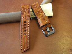 Handmade leather watch strap and buckle tan от BCLeatherWorks Custom Leather, Handmade Leather, Leather Craft, Leather Men, Watch Bracelets, Watch Straps, Leather Watch Bands, Leather Tooling, Leather Jewelry
