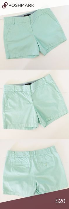 "J. Crew Mint Blue Chino Shorts - 6 J. Crew 5"" Chino Shorts! Beautiful mint / green / blue color. Has 4 pockets and belt loops. 100% cotton. 13 1/2"" long, inseam 5"", waist 16 1/2"" across. Has minor wear at waist and between legs. Would look cute Cuffed also. Otherwise good condition- minor wear. NO TRADES. J. Crew Shorts"