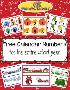 Free Full Year of Calendar Numbers Printable