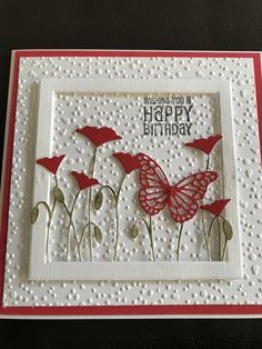 Making Greeting Cards, Greeting Cards Handmade, Handmade Birthday Cards, Happy Birthday Cards, Butterfly Birthday Cards, Poppy Cards, Bday Cards, Hand Stamped Cards, Fancy Fold Cards