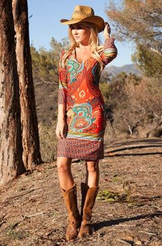 Paisley - dress, Casually cropped sleeves complete this curve-clinging v-neckline dress styled with sophisticated paisley flourishes and a contrasting hem-line.