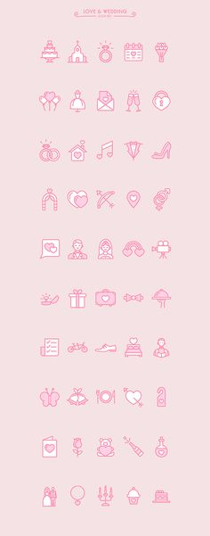 Love & Wedding icon set on Behance