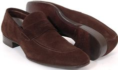 TOM FORD Brown Suede Penny Loafers Shoes Men's 11 D US BOX Made in Italy 10.5 UK