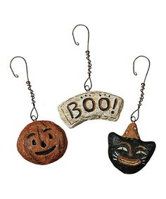primitives by kathy broom hat ornament set halloween trees and happy halloween - Primitives By Kathy Halloween