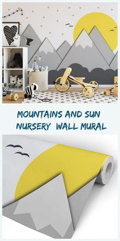 Hoe to make your kids room special and distinct using wallpaper? Mountains and Sun Nursery Wall Mural #overlays #furniture #kidsroomdecor #babynursery #playroom #childrens #boynursery #girlnursery #bedroom #ad