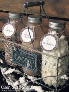 Hot Cocoa Bar...so cute! // I used different containers or mine and full candy canes to stir with:) fun, convenient, seasonal, decorative as well:)