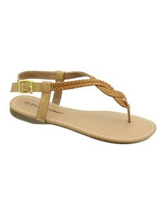 Take a look at this Camel Braided Rachel Thong Sandal by Pierre Dumas on #zulily today!