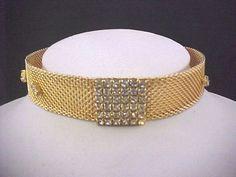 Vtg 1960s Mesh Clear Rhinestone Gold Tone Dog Collar Choker Necklace Adj Length #NotSigned #DogCollarChoker