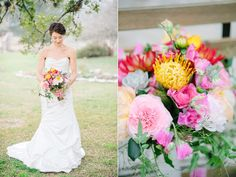 wedding flowers - photo by Sarah Goss Photography http://ruffledblog.com/colorful-modern-wedding-at-the-plant-at-kyle