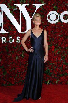 Claire Danes Indigo Slim A-line Celebrity Elegant Evening Dress Tony Awards 2016