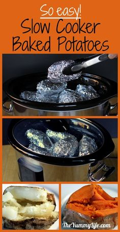Baked Potatoes in a Slow Cooker Slow Cooker Baked Potatoes. Cook regular or sweet potatoes without oven heat. It doesn't get any easier!set up a baked potato bar! Crock Pot Food, Crockpot Dishes, Crock Pot Slow Cooker, Slow Cooker Recipes, Crockpot Recipes, Cooking Recipes, Skillet Recipes, Cooking Tips, Baked Potato Bar
