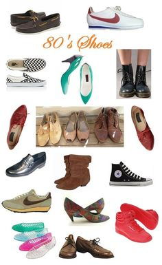 Different styles of 1980's popular footwear (I had those red reebok high tops!)