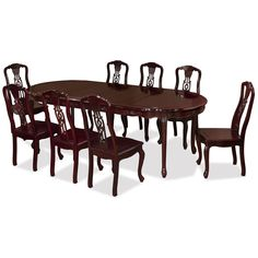 Traditional French Style Rosewood Dining Set with 8 Chairs -  Contemporary Hardwood Dining Room Furniture