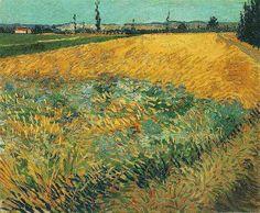 Wheat Field with the Alpilles Foothills in the Background - Vincent van Gogh . Created in Arles in June, Located at Van Gogh Museum Vincent Van Gogh, Monet, Paul Gauguin, Camille Pissarro, Van Gogh Arte, Van Gogh Pinturas, Van Gogh Paintings, Artwork Paintings, Storm Clouds