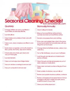 Seasonal Cleaning Checklist ideas for things that can easily be forgotten (changing air filters, check batteries in smoke detectors, etc) - from Remodelaholic Casa Clean, Clean House, Cleaning Checklist, Cleaning Hacks, Cleaning Schedules, Deep Cleaning, Spring Cleaning, Professional Cleaning, Cleaning Solutions