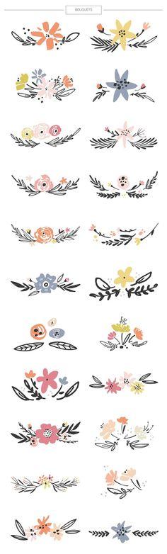Floral mega-bundle: 1267 elements by Favete Art on @creativemarket