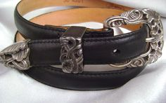 BRIGHTON PRIVATE COLLECTION LEATHER BLACK BELT WOMENS SIZE 30 SILVER BUCKLE #Brighton