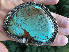 Large Native American Turquoise & Sterling Silver Cuff Bracelet 3 oz signed DW