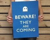 Beware, They Are Coming A3 Poster- Pac-Man Ghost- Sapphire Blue, Geekery