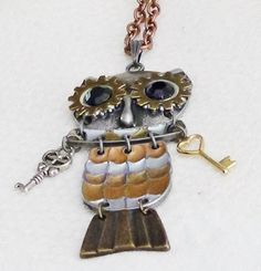 Steampunk Unique Owl Pendant and 32 Inch Copper Chain Keys Gears