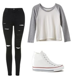 """""""Untitled #252"""" by ninastan ❤ liked on Polyvore featuring RVCA, Converse and Topshop"""