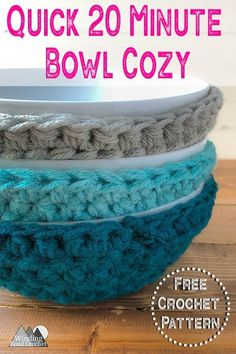 Work up this crochet bowl cozy using this free pattern in just 20 minutes. The crochet project is quick and easy and a great stash buster. Make a quick and easy crochet bowl cozy with this free crochet pattern by Winding Road Crochet. Crochet Bowl, Cute Crochet, Crochet Yarn, Quick Crochet Gifts, Crochet Patterns Free Easy Quick, Crochet Faces, Viking Shoes, Crochet Dishcloths, Crochet Kitchen
