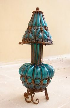 Vintage lamp - This reminds me of the blue Caterpillar in Alice in Wonderland