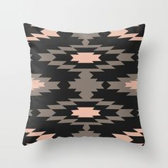 Before Dawn Throw Pillow, #southwest, #pink, #black #gray #pillow #pattern
