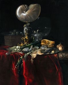 Willem van Aelst Still Life with Fish, Bread and Nautilus Cup 17th century