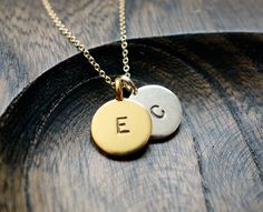 Two Disc Personalized Necklace / Gold And Silver by VerseJewelry, $42.00