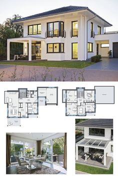 ENERGIESPARHAUS Grundriss Stadtvilla - City Life Haus 250 Weber Haus - Modernes Einfamilienhaus mit Solarzellen Pergola Walmdach