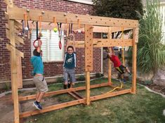 Ninja Warrior training course I made for the kids ( and myself) in our back yard. It has a peg board circuit, ring toss peg circuit, monkey bars, gymn. Backyard Gym, Backyard Playset, Backyard For Kids, Diy For Kids, Backyard Ideas, Backyard Seating, Backyard Landscaping, Kids Ninja Warrior, Ninja Warrior Course