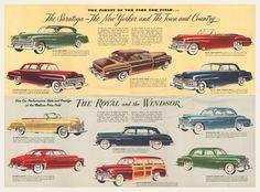 1950 Chrysler Sales Brochure   OldBrochures.com Chrysler Saratoga, Chrysler Windsor, Oldsmobile 88, Chrysler Cars, Selection Boxes, Car Illustration, Car Advertising, Vintage Ads, Mopar